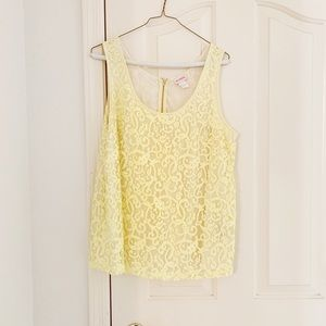 H&M Yellow Lace Sleeveless Blouse